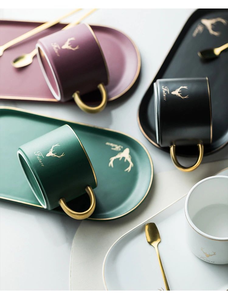 Gold Rimmed Coffee Mug Set - 7
