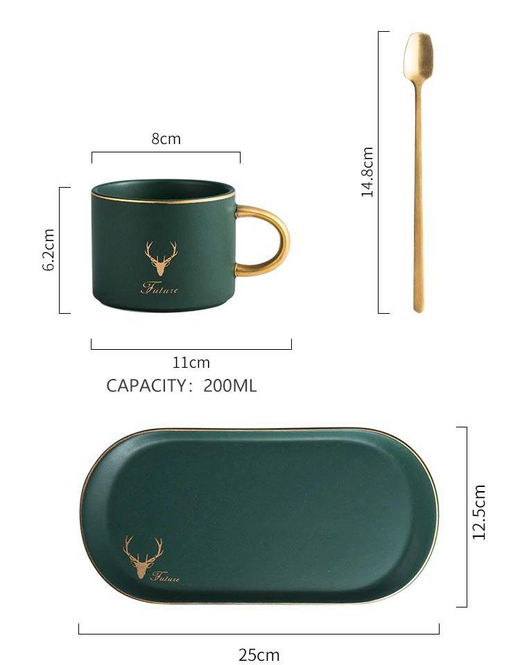 Gold Rimmed Coffee Mug Set - Capacity