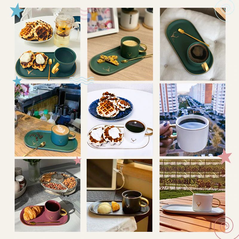 Gold Rimmed Coffee Mug Set - Samples