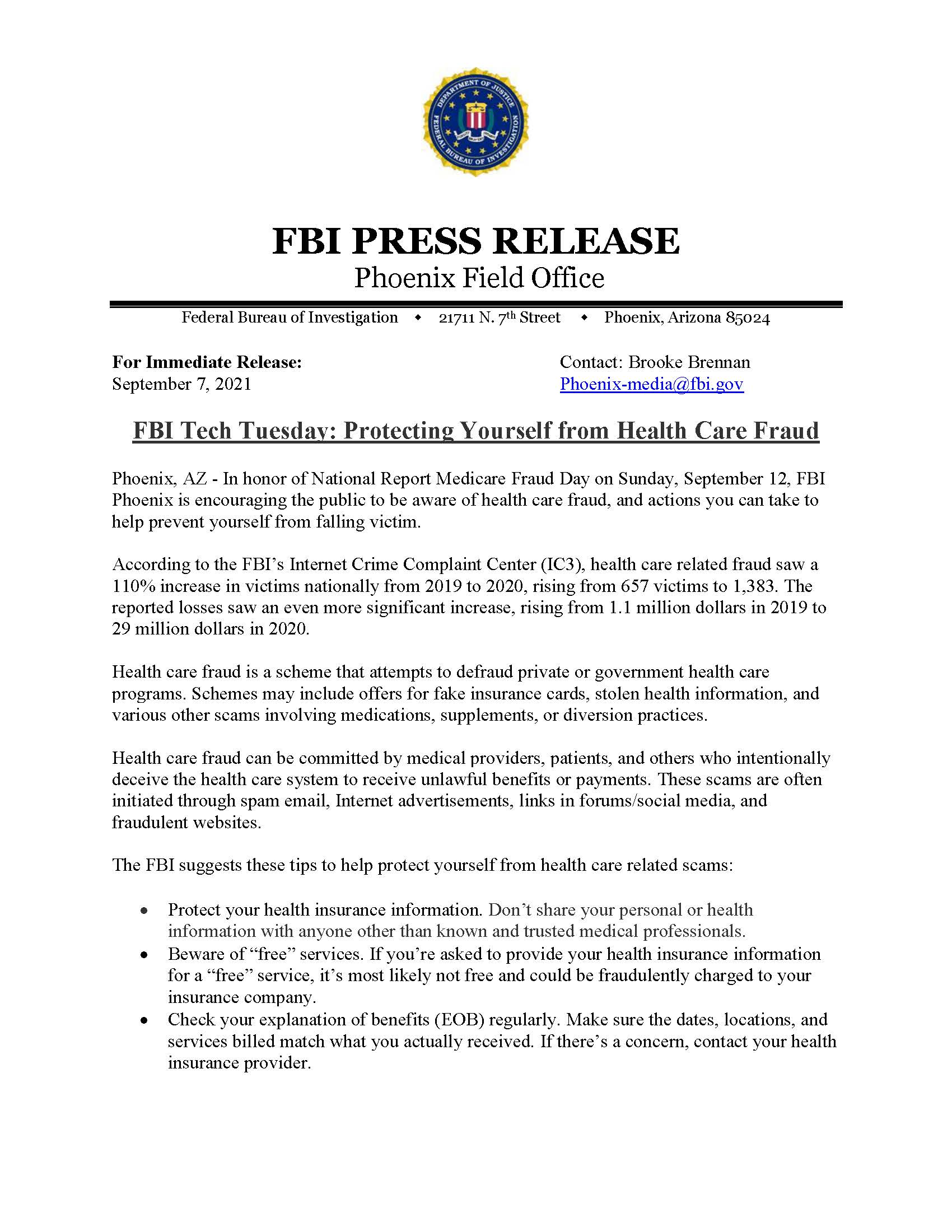 FBI Tech Tuesday: Protecting Yourself from Health Care Fraud