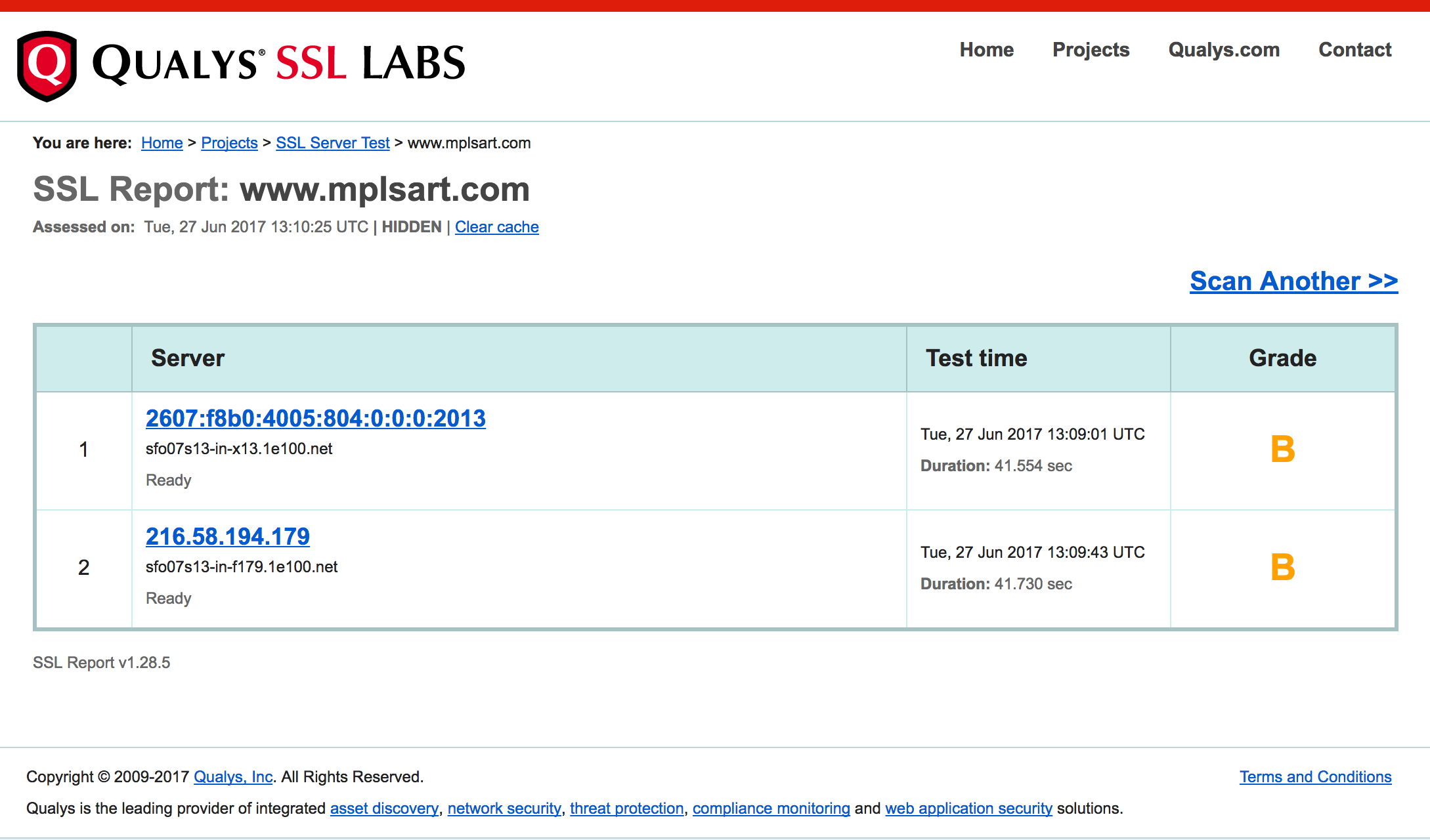 SSL Labs Report (Before)