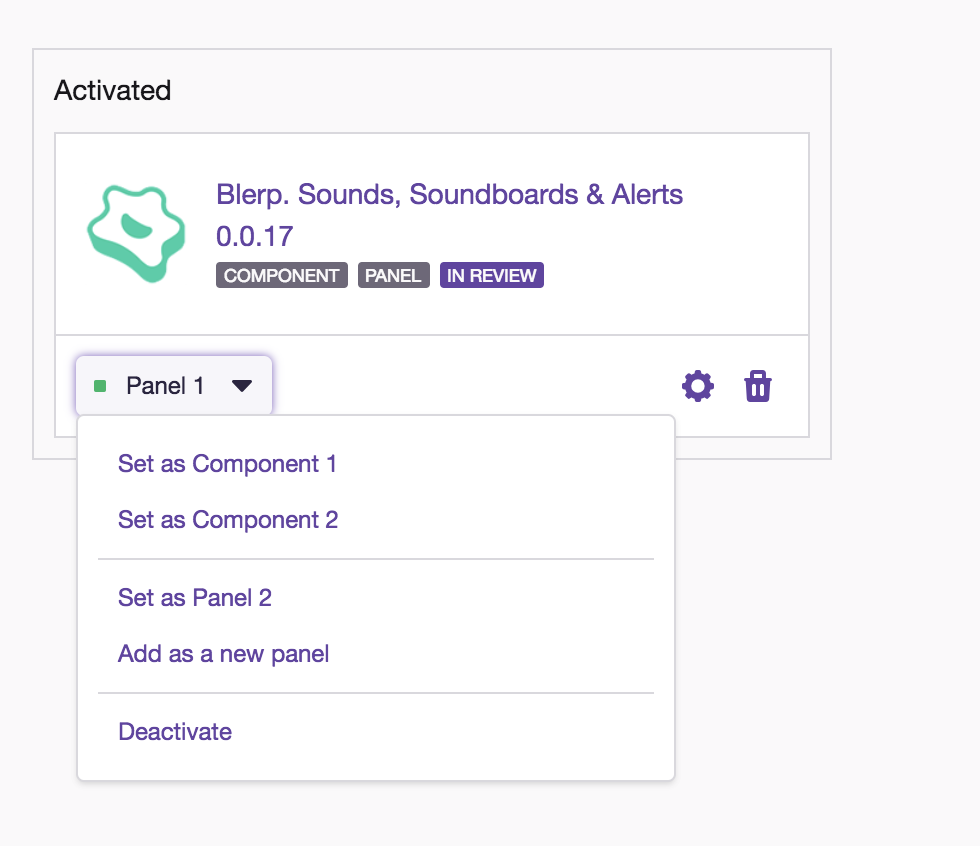 Activate Twitch Extension Screen