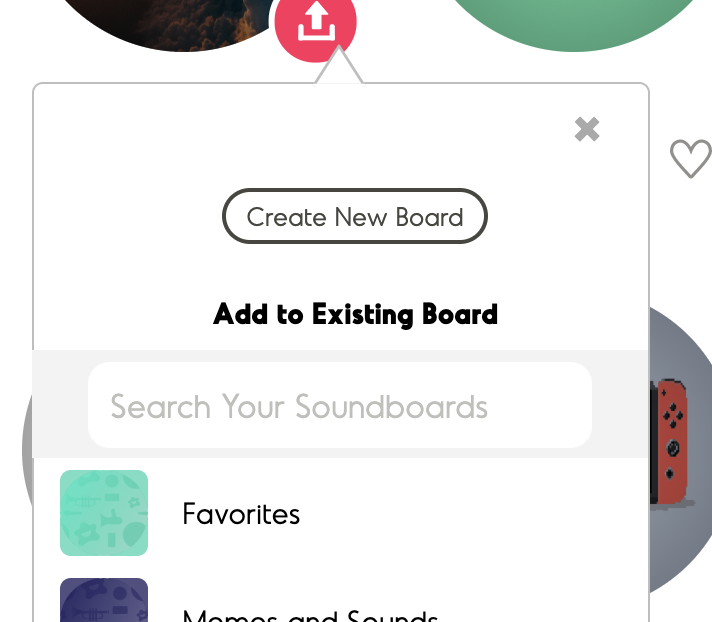 Screenshot of finding or creating a new board