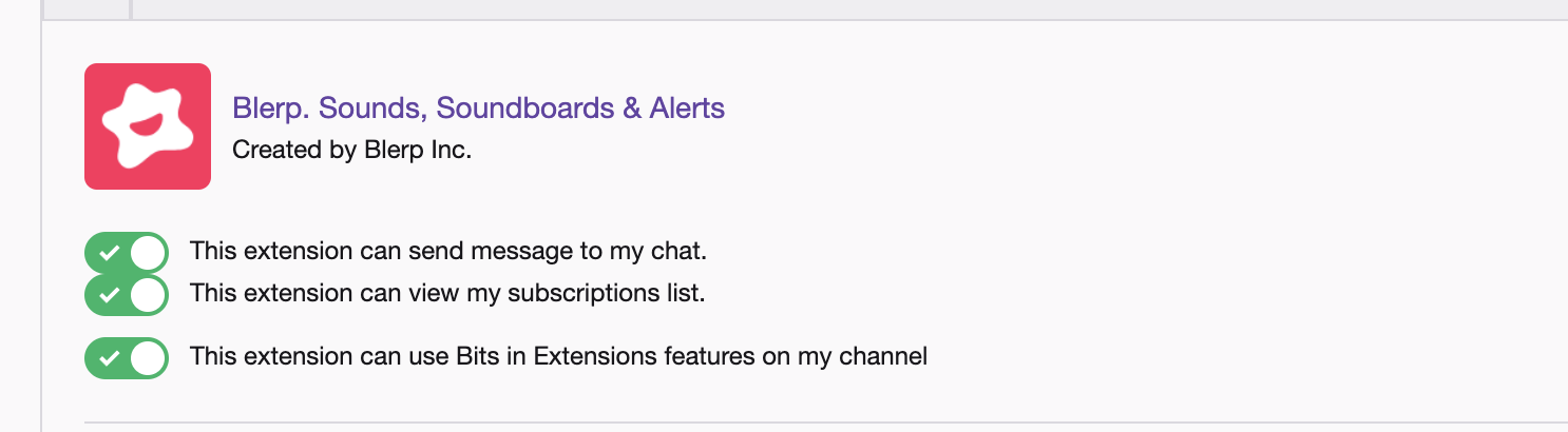 Twitch extension blerp pemissions
