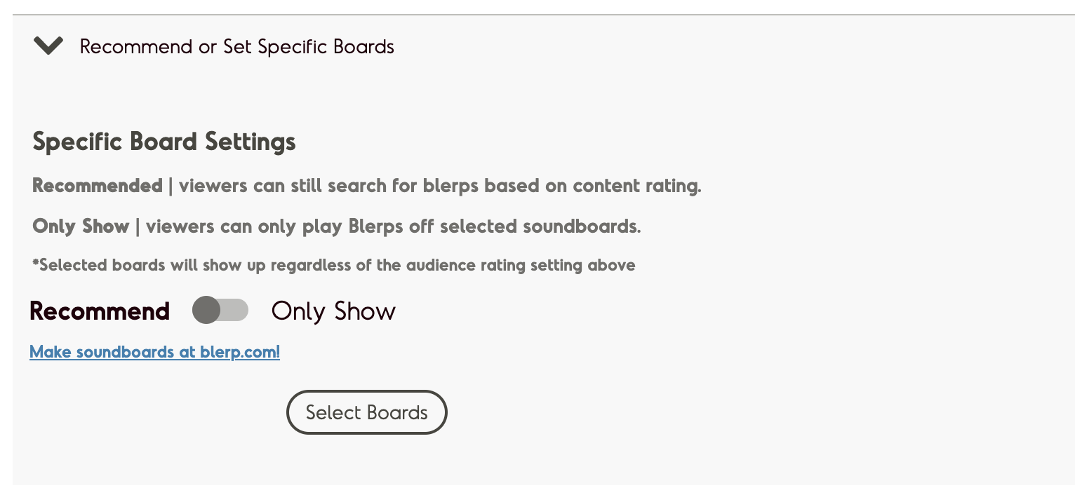 Screenshot of reccomend specific board settings