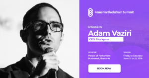 Blockpass CEO Adam Vaziri at Romania Blockchain Summit on Jun 20-21