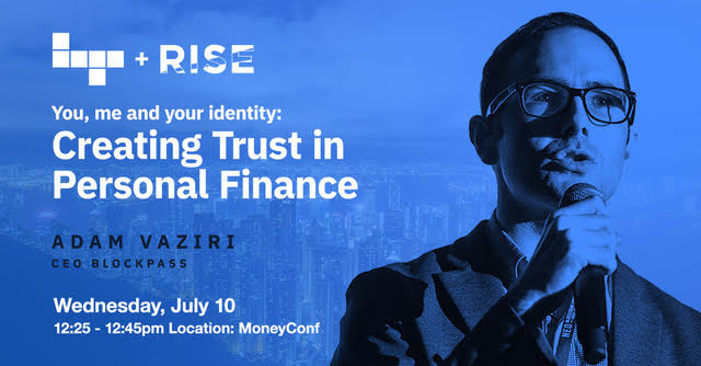 Blockpass CEO Adam Vaziri speaking at RISE Conference 2019 in Hong Kong for Building Trust in Personal Finance Panel