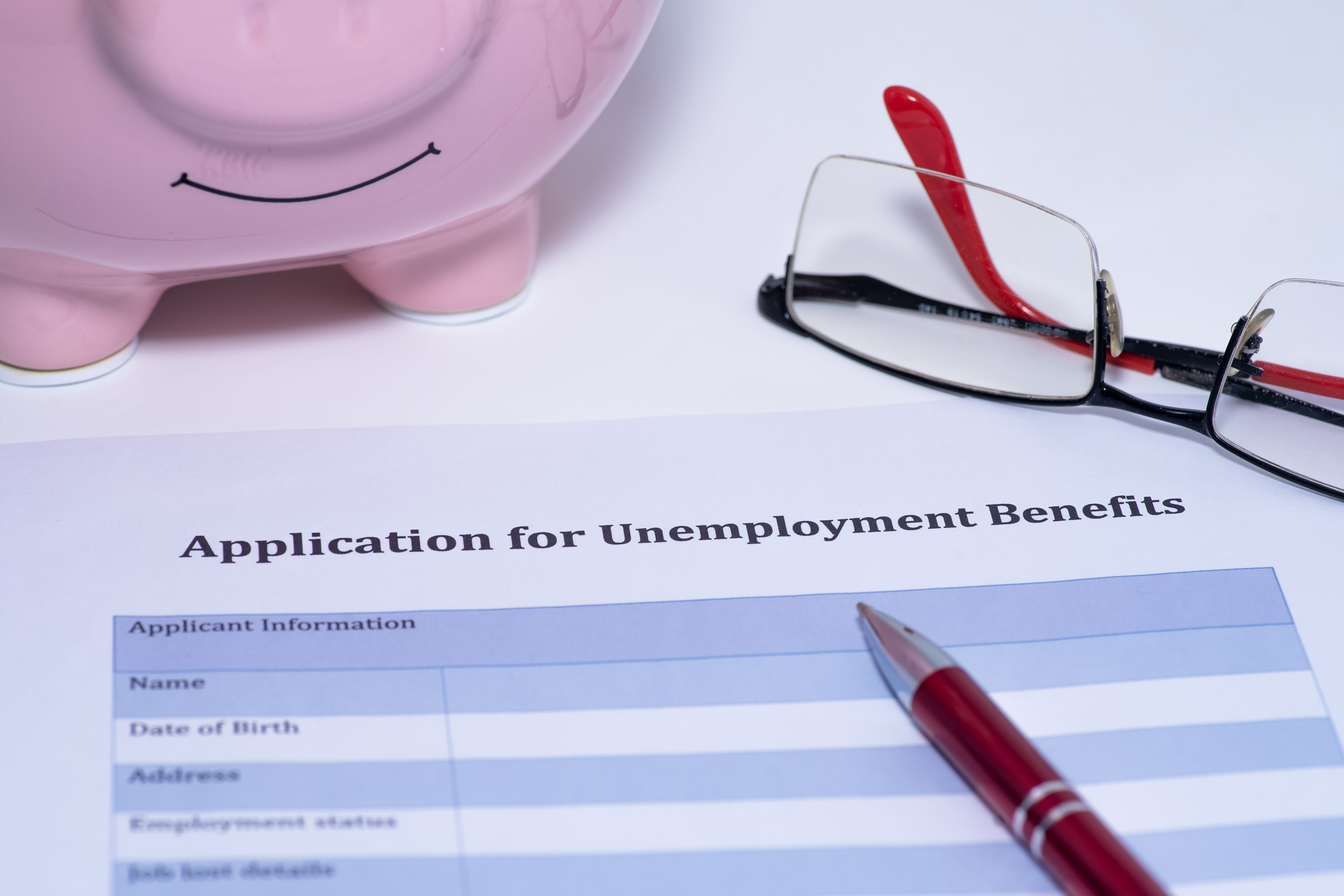 An empty application for unemployment benefits