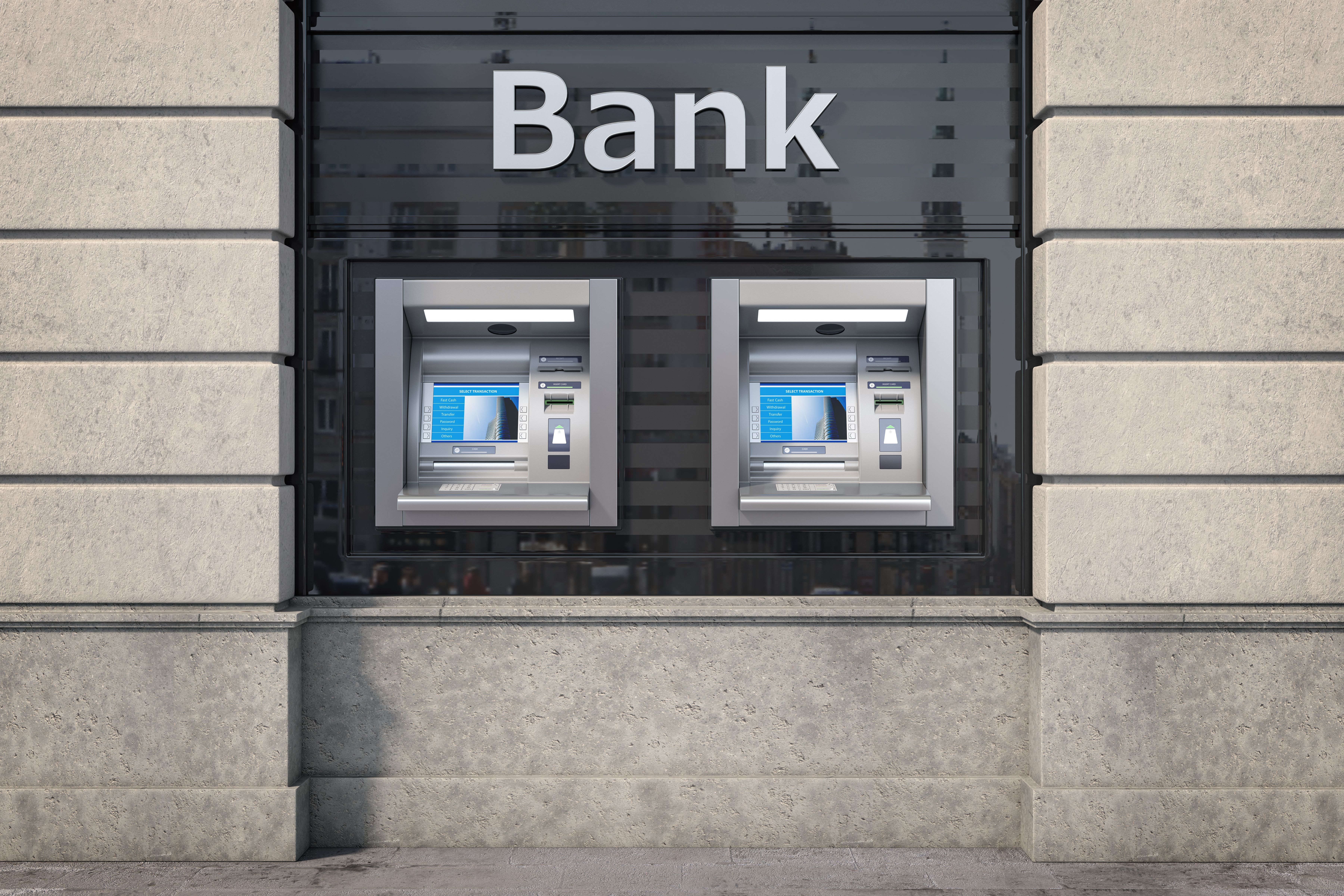 Front view of two ATMs