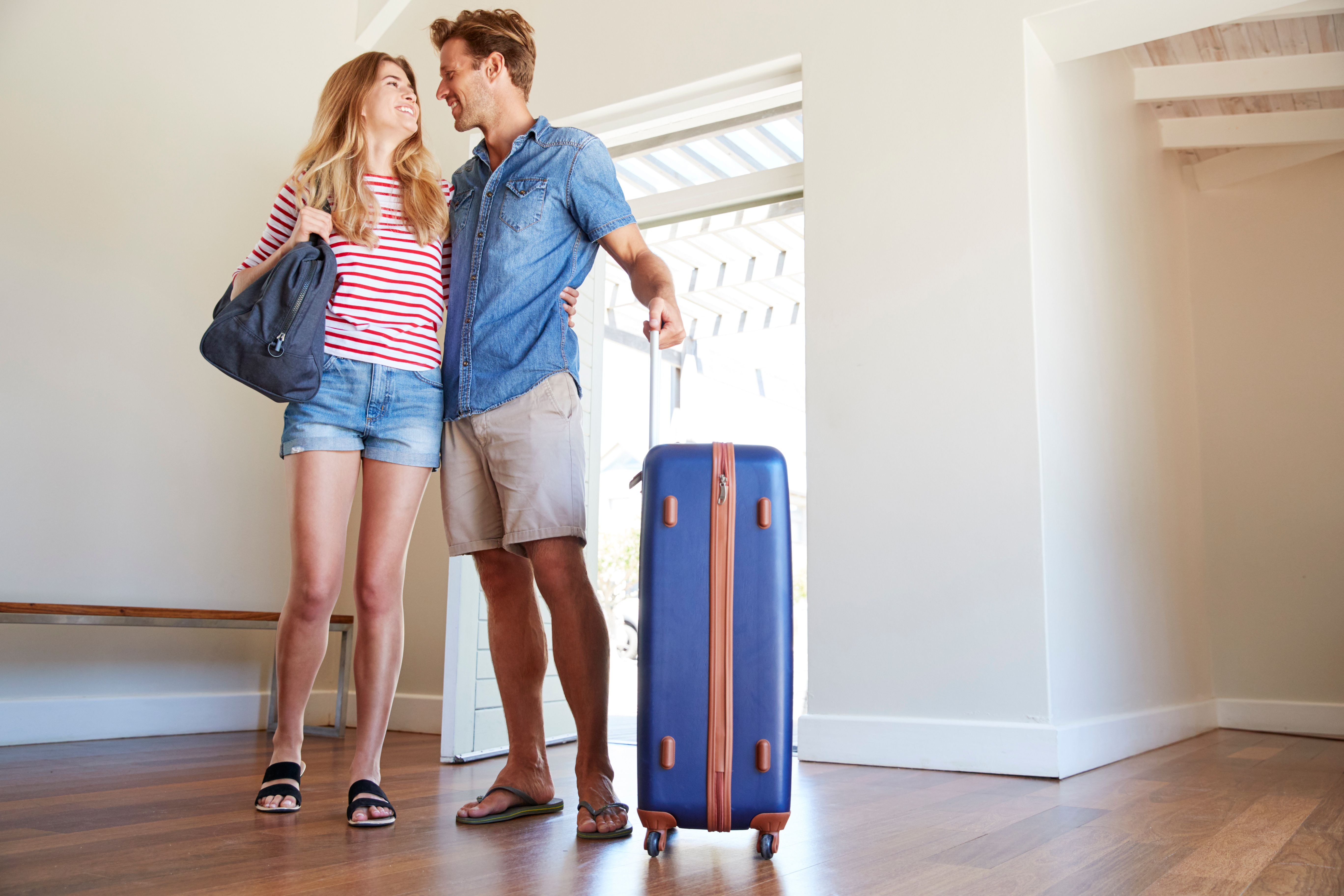 A couple arriving at a new house