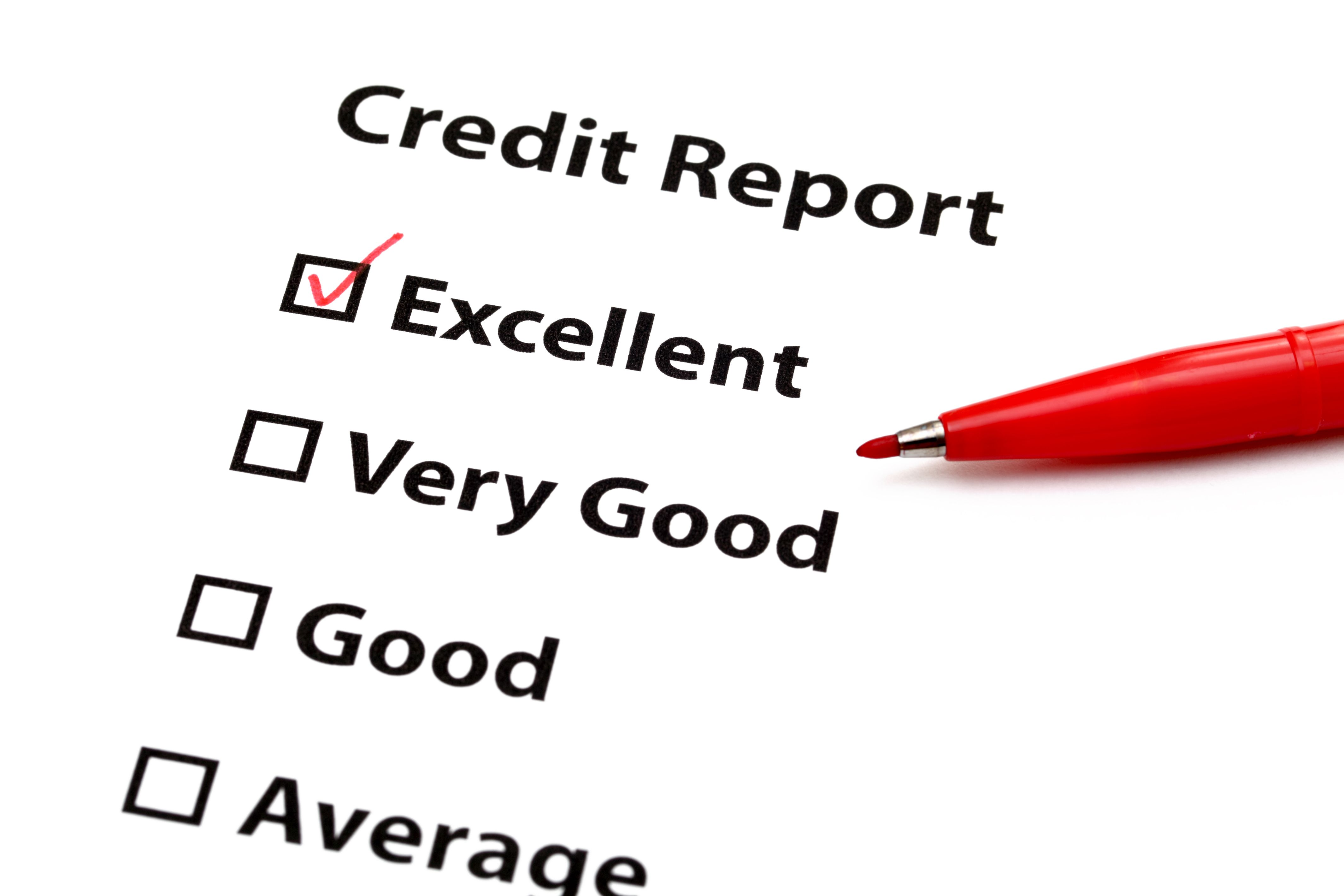 """A credit report with an """"Excellent"""" rating"""