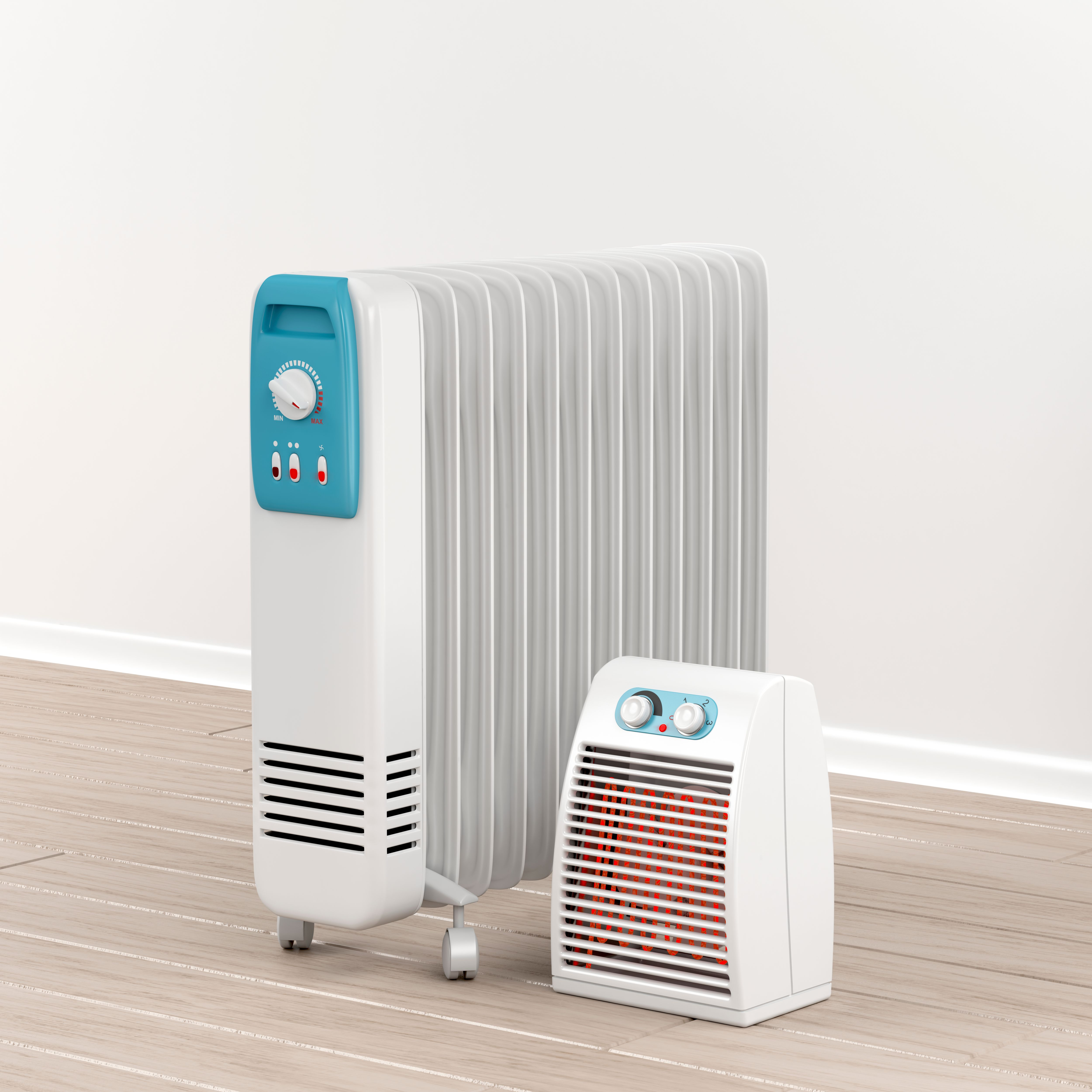 Two electric heaters on the ground