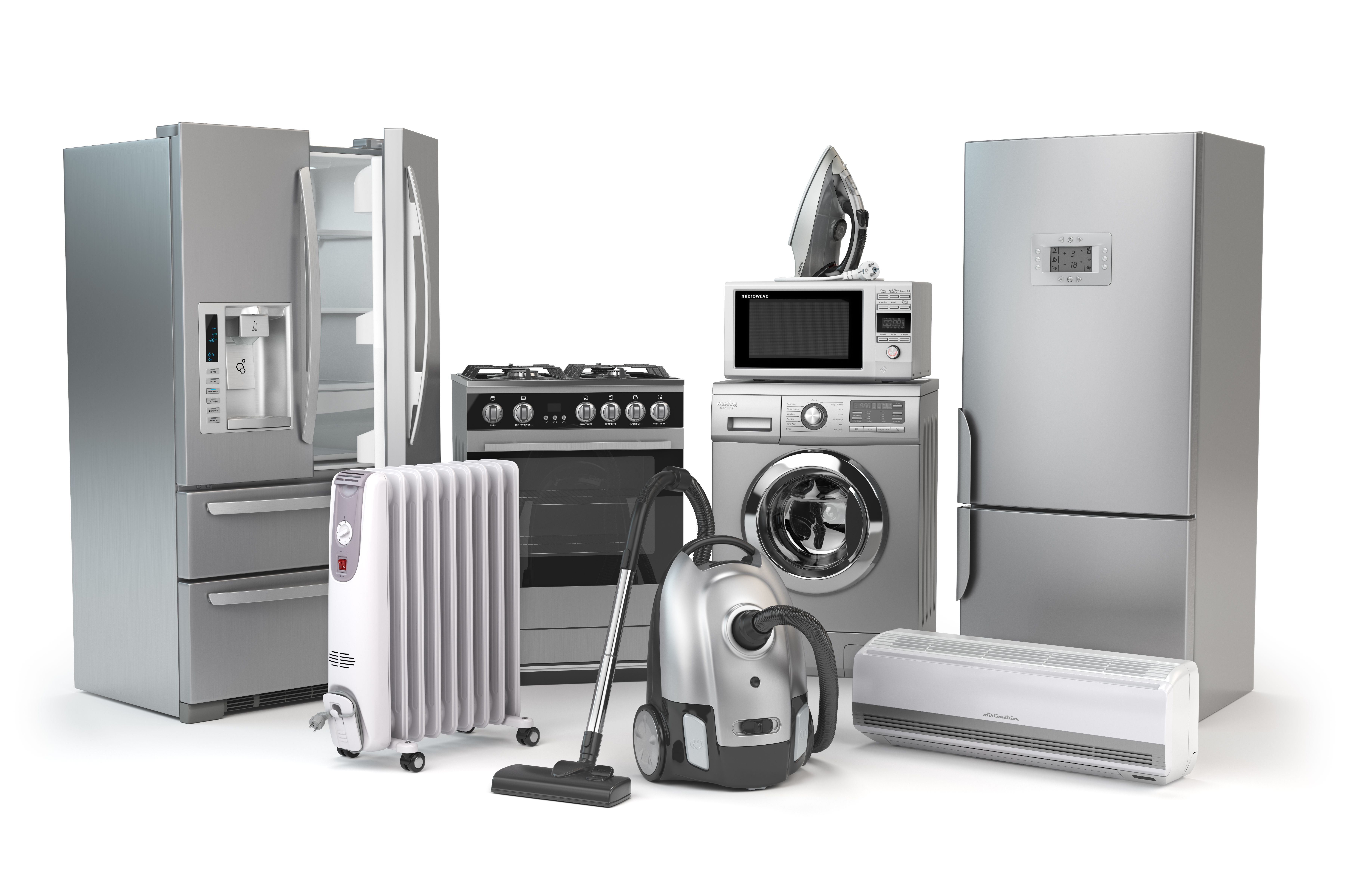 A set of household electric appliances isolated on white background