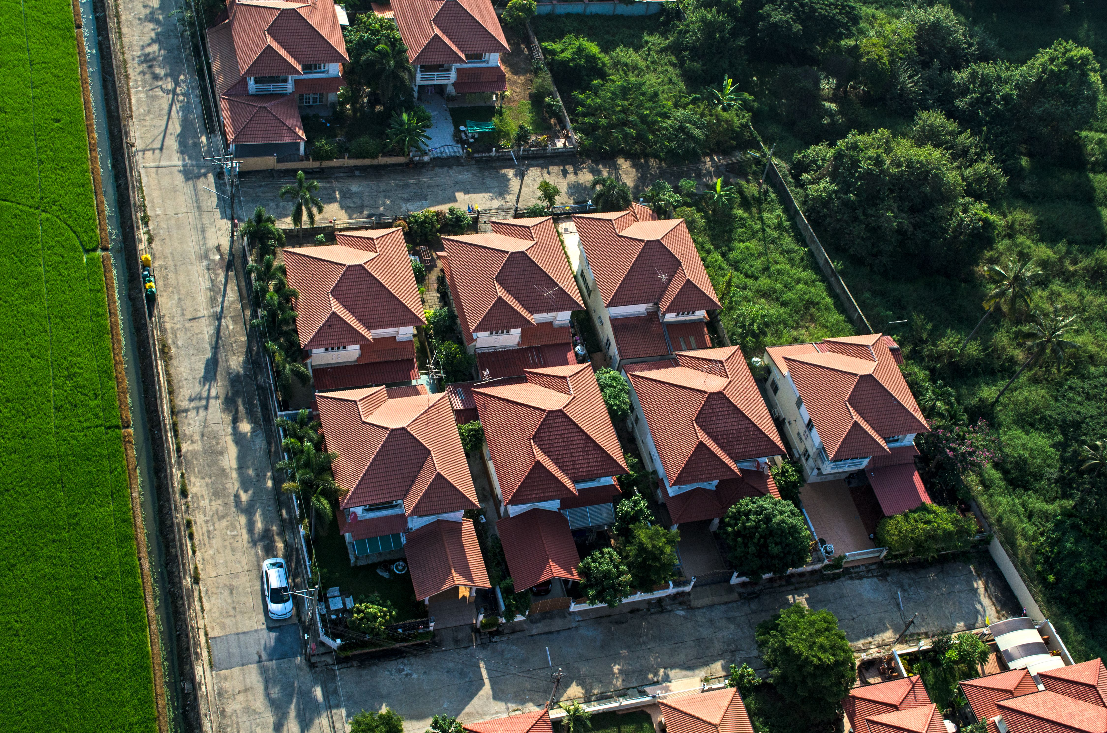 Birdview of residential housing are