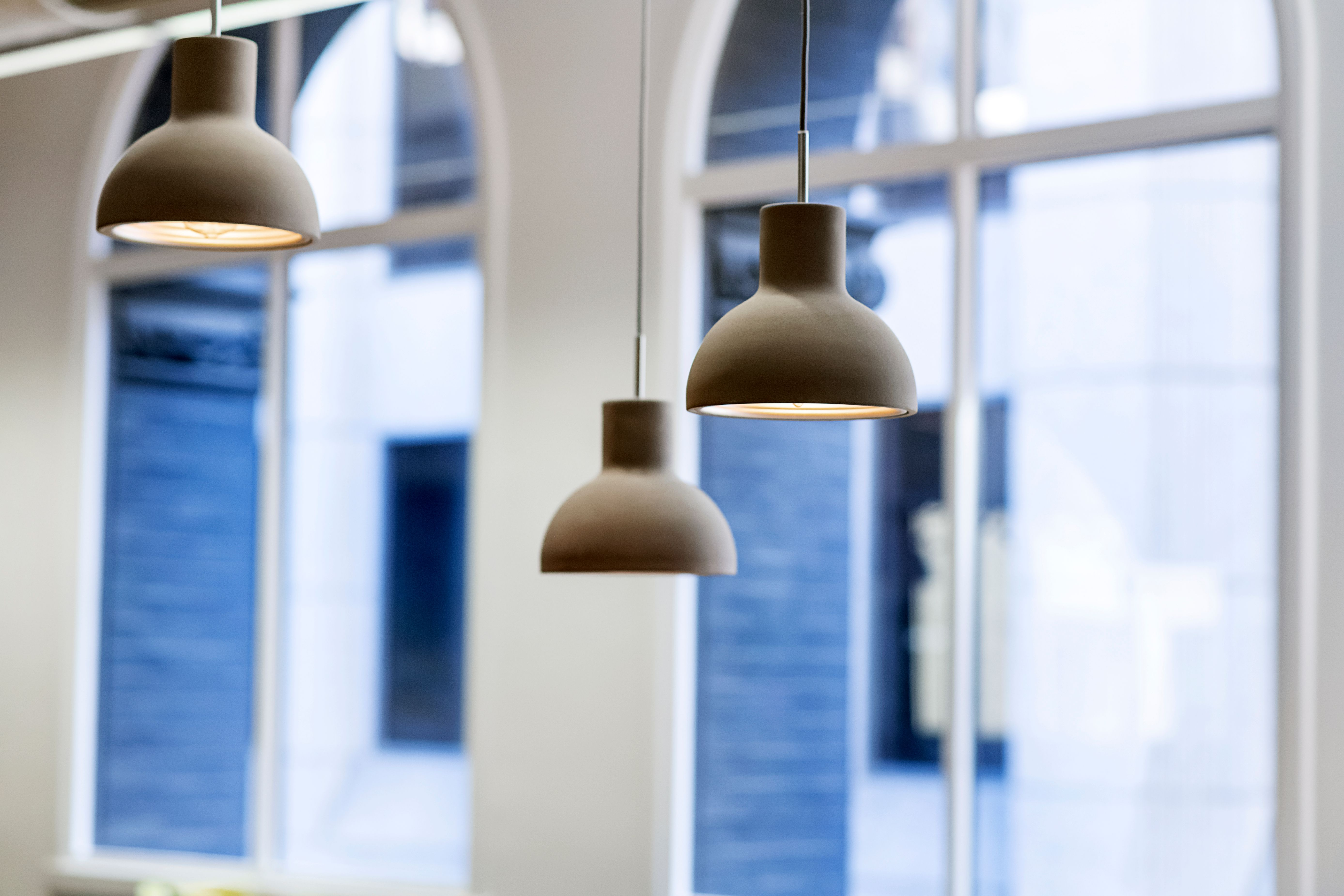 Three bulbs hanging from the ceiling