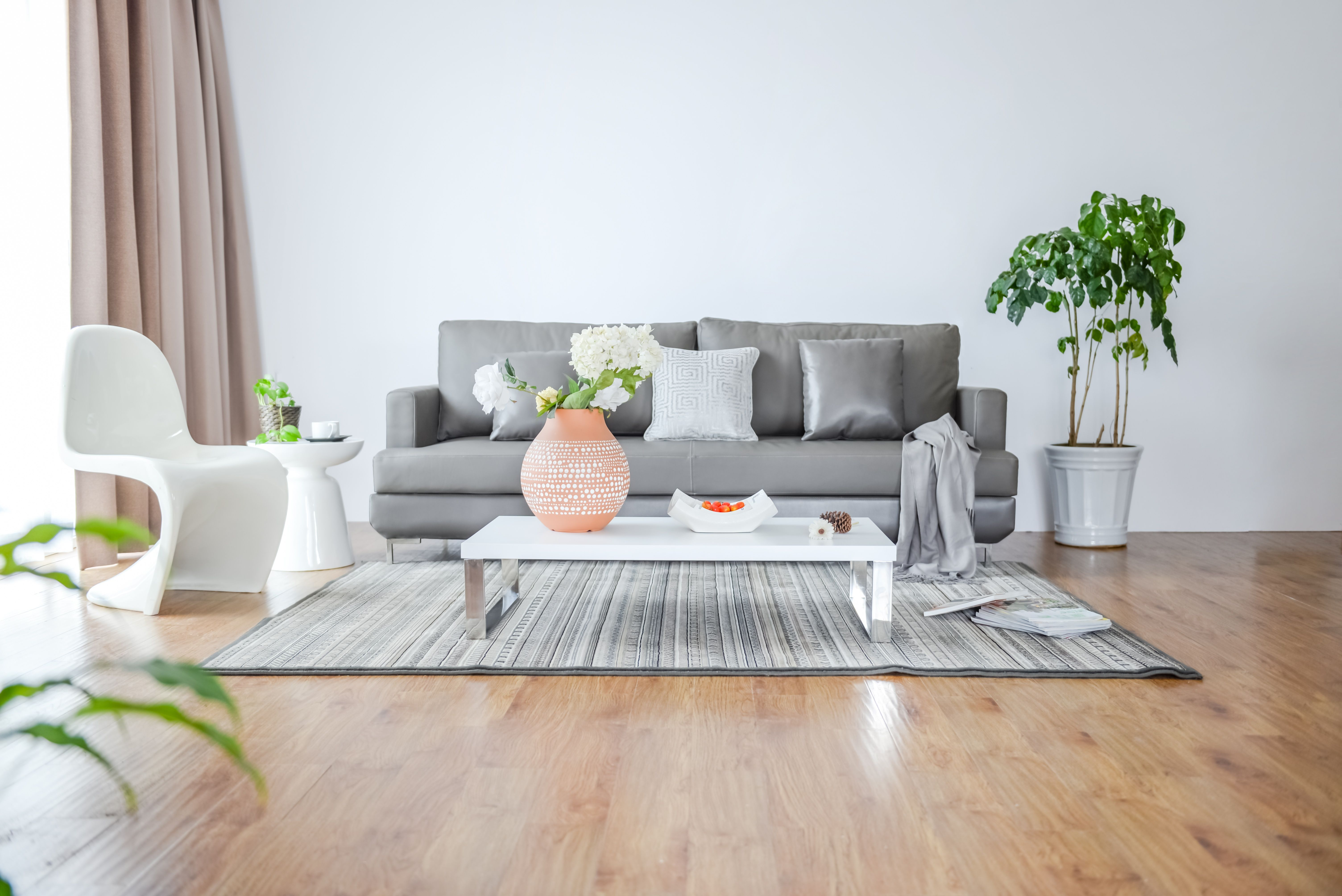 A minimalist living room of a Build To Rent property with a white chair, a grey sofa, a green plant from left to right.