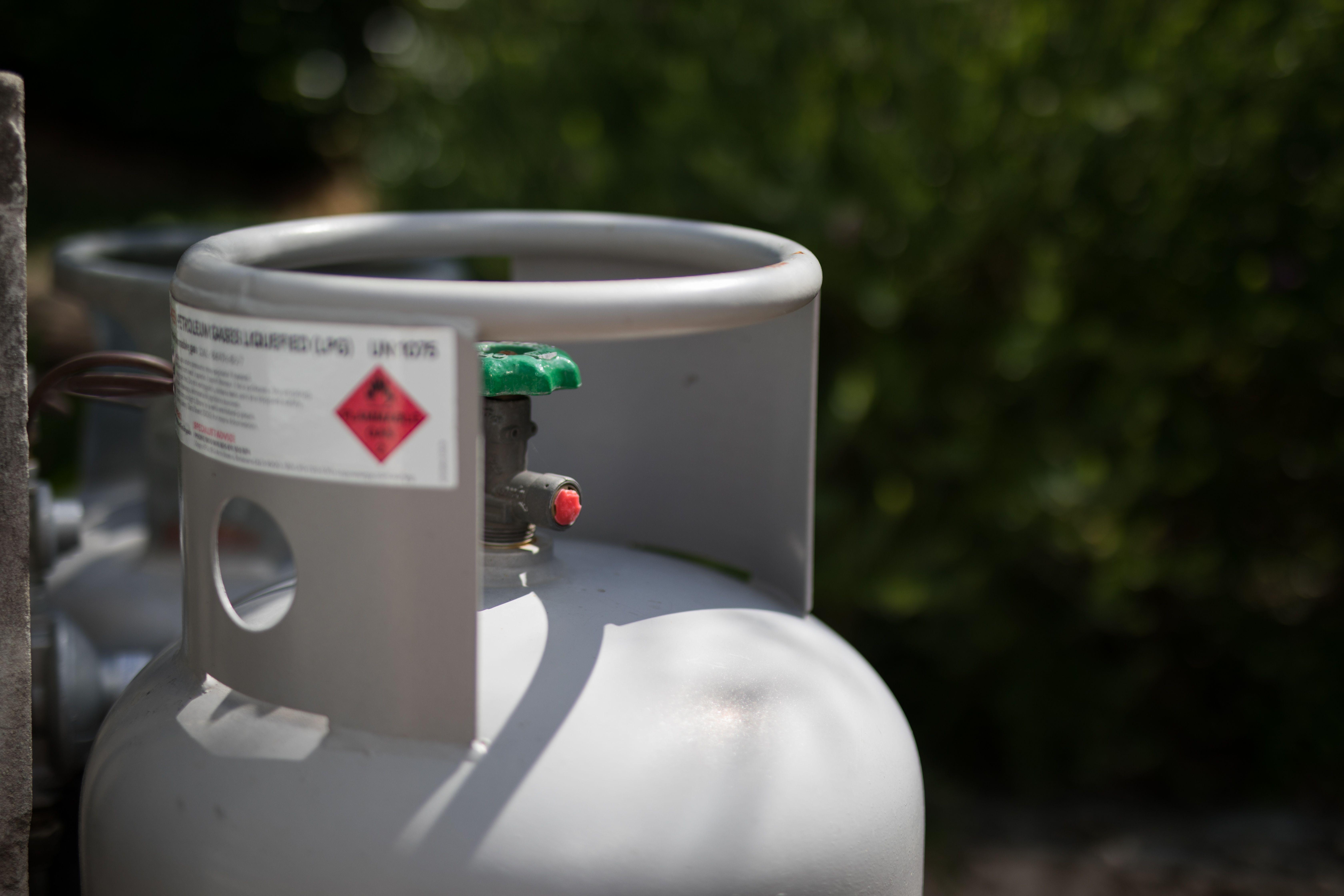 An outdoor gas tank