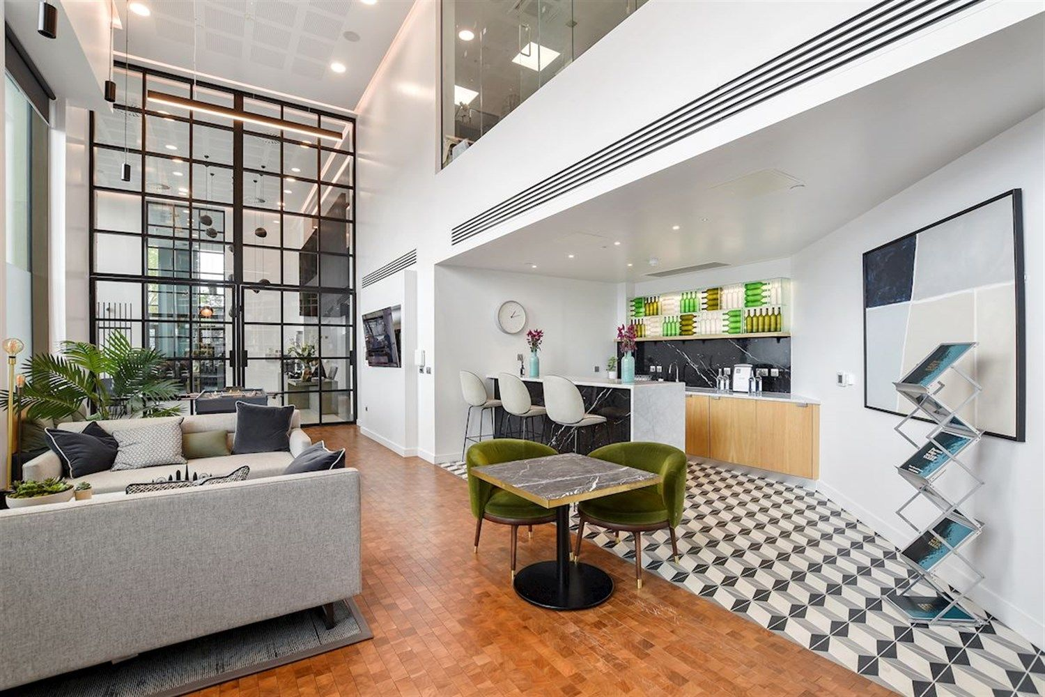 The common area at Porter's Edge, a Build To Rent development in South East London.