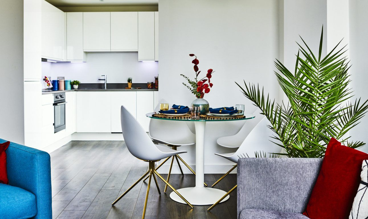 The common area at New Cross, a Build To Rent development in South East London.