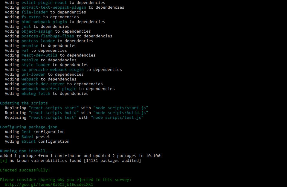 create react app npm output