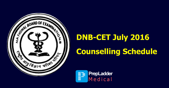 DNB CET July 2016 Counselling Schedule