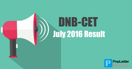 DNB CET July 2016 Result