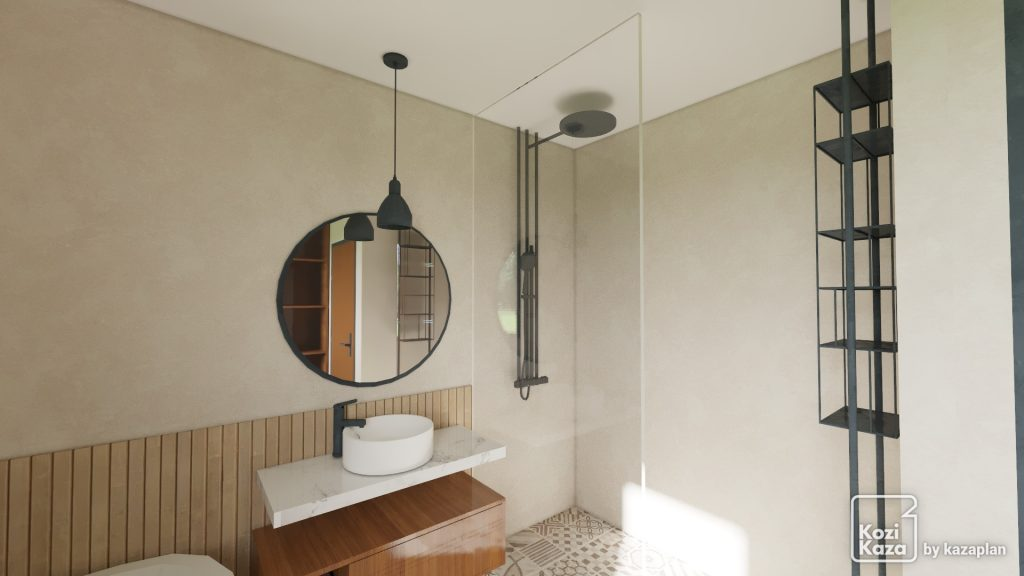 Idée 3D réaliste de salle de bain