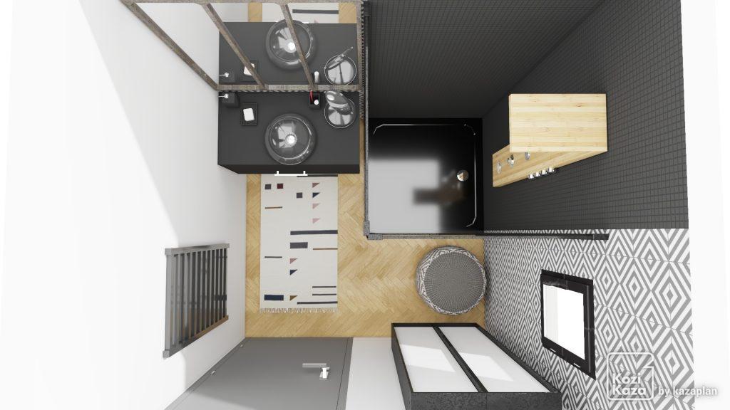 Plan 3D petite salle de bain