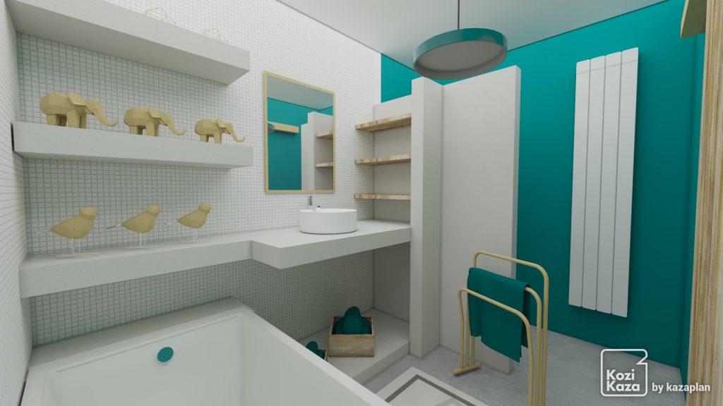 Image réaliste salle de bain verte