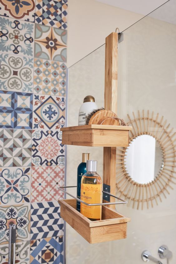 douche italienne avec carreaux de ciment