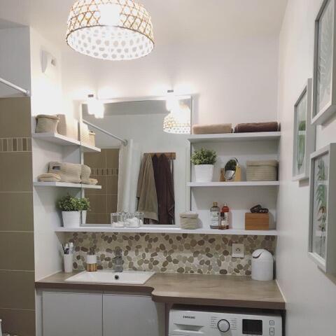 Petite Salle De Bain Beige Et Blanc