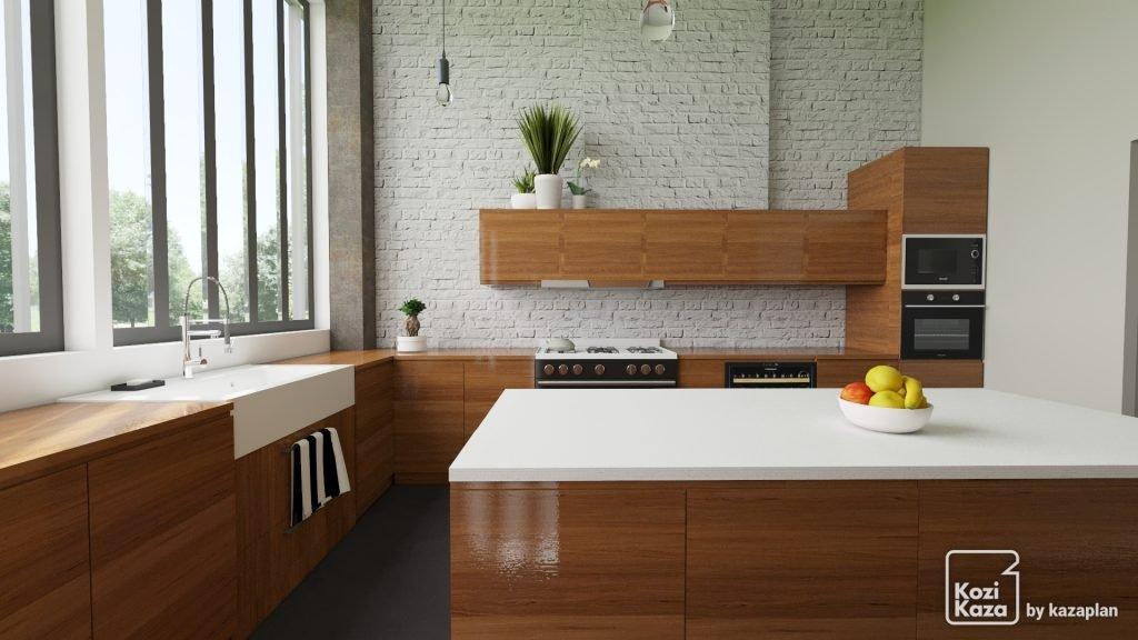 rendu 3D HD grande cuisine en L avec ilot moderne loft