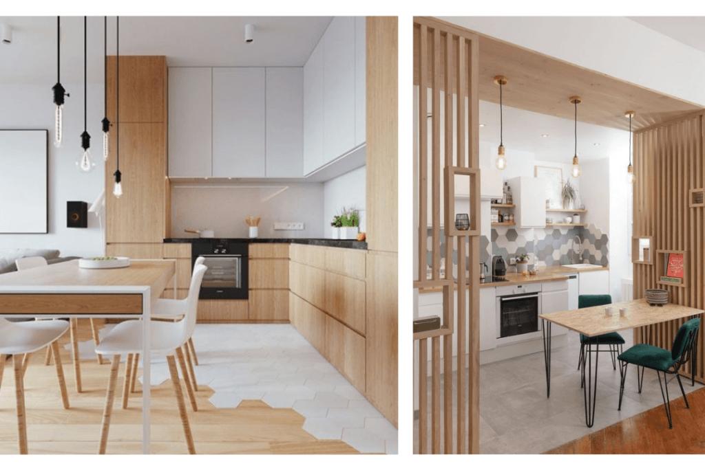 cuisine blanche et bois avec carrelage et parquet