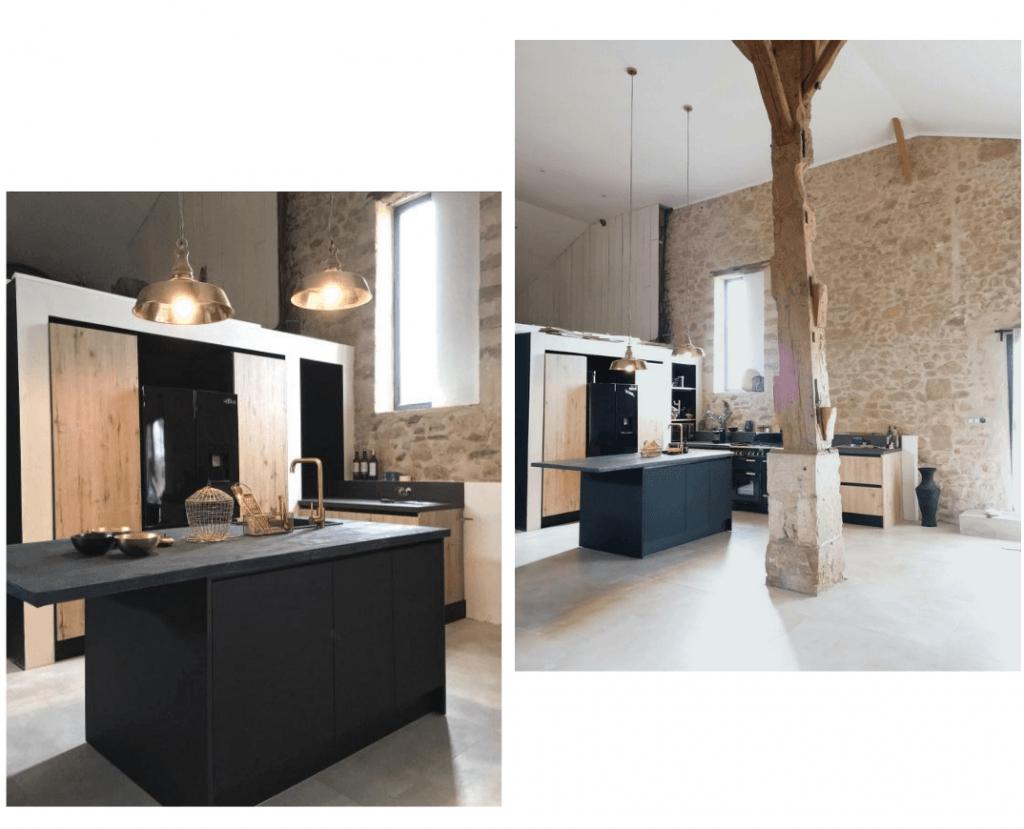 grande cuisine ouverte noir et bois