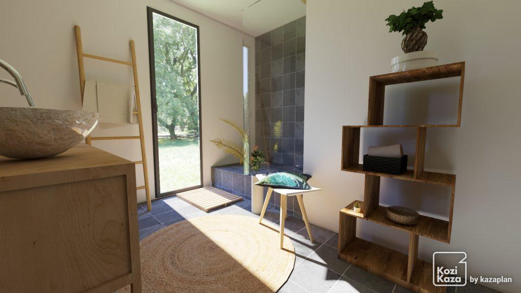 Rendu HD d'une salle de bain zen avec douche italienne