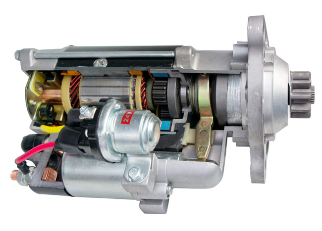What are the components of a start motor