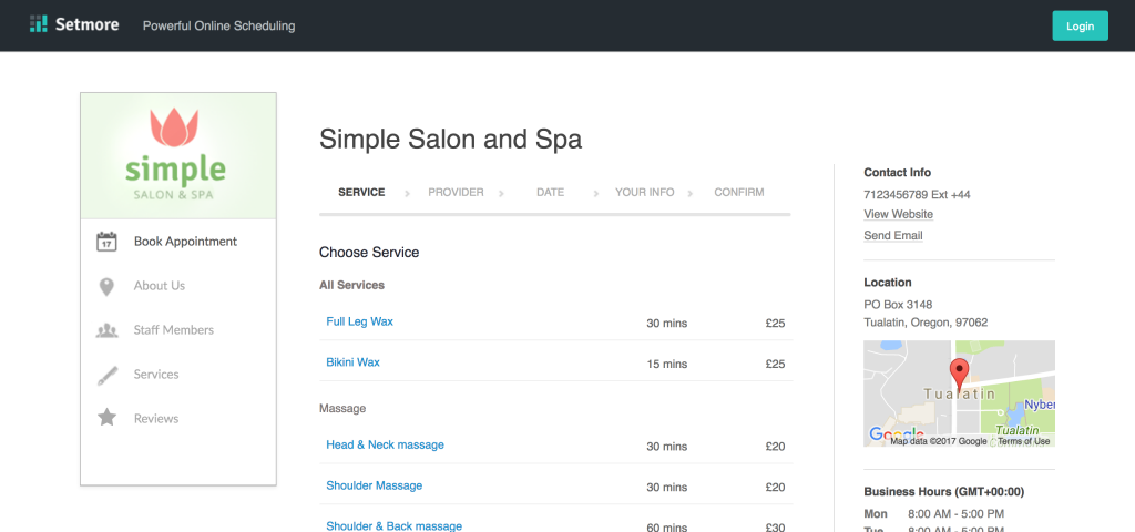 booking page screenshot
