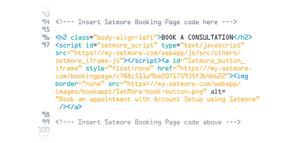 HTML code of the Setmore booking page,