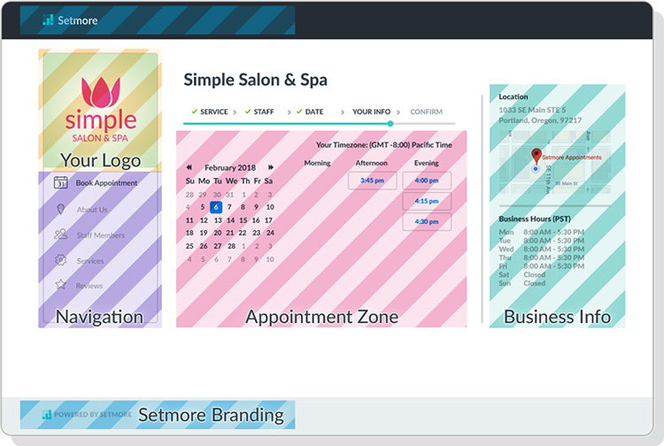 the booking page with sections highlighted in different colors