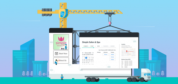 header image featuring a construction crane building a booking page