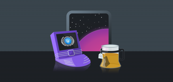 A futuristic laptop computer showing the Setmore logo, next to a mug of Earl Grey tea.