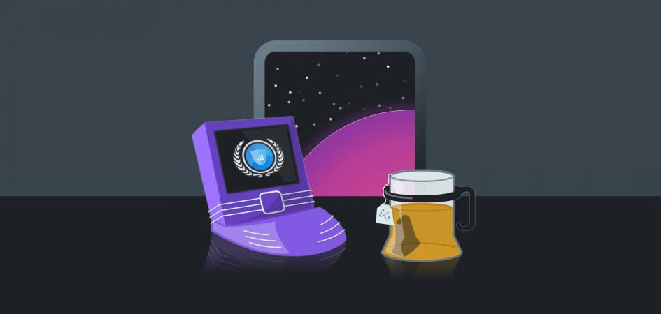 A futuristic laptop computer showing the Setmore logo, next to a mug of Earl Grey tea.