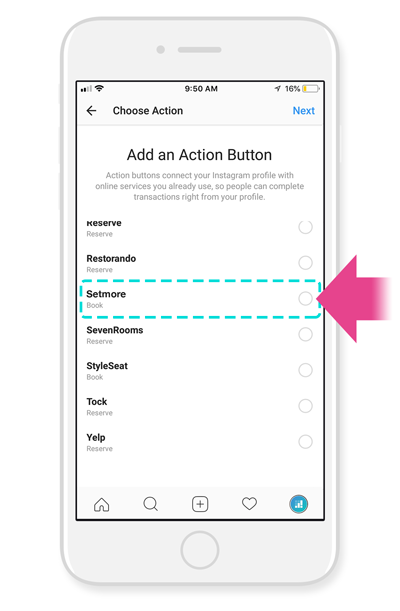 "The ""Add an Action Button"" screen from the Instagram app, on an iPhone."