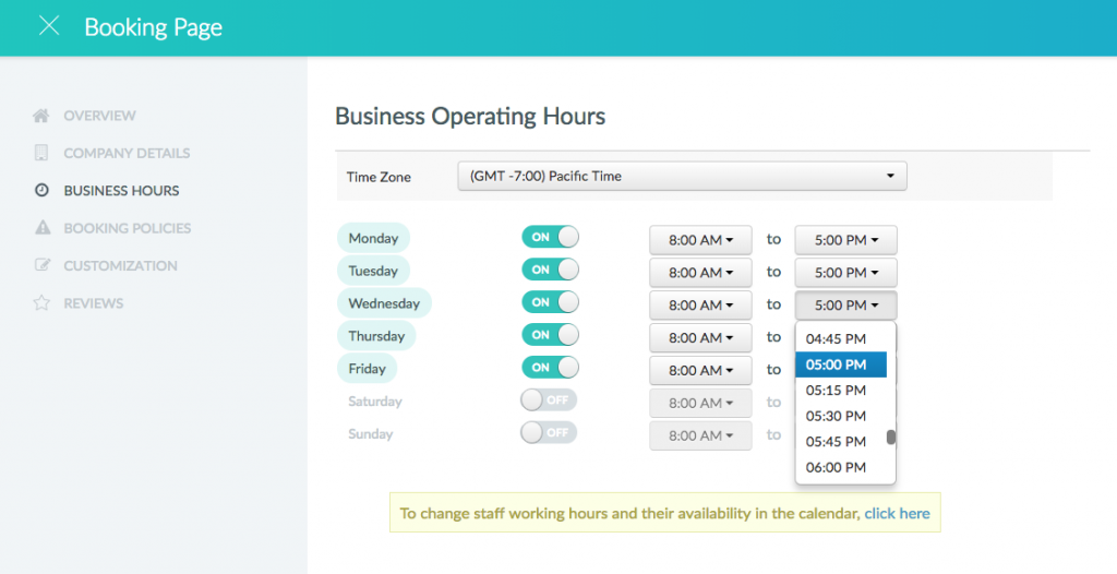 A dropdown menu showing hours being selected.