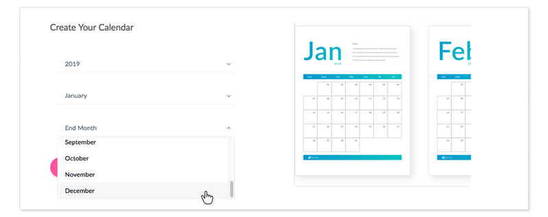 A calendar creation menu on a webpage, with a drop-down menu showing months of the year.