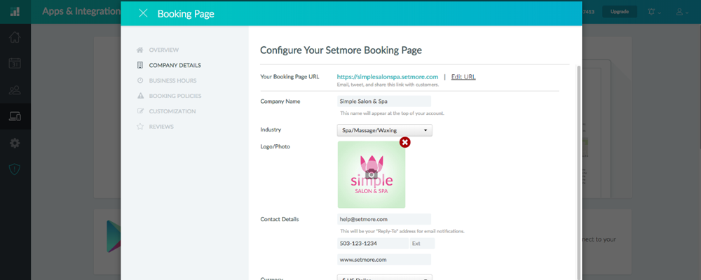 The Booking Page Setup screen inside the Setmore app.