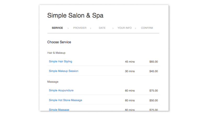 A menu for selecting services.