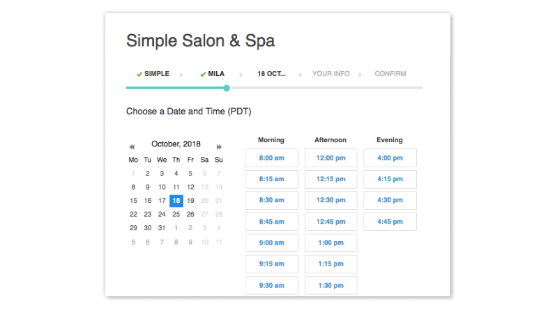 A menu for selecting a date and time.