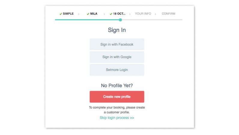 A menu for logging into a customer profile.