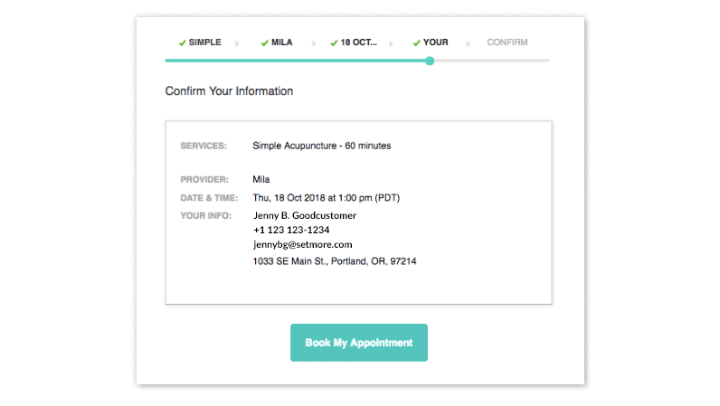 A confirmation screen showing the information for an appointment.